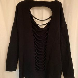 Black slit back sweater